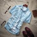 Plus size M para 5XL de manga curta camisa de brim dos homens shirt vetement homme para o verão preto/azul claro/azul escuro