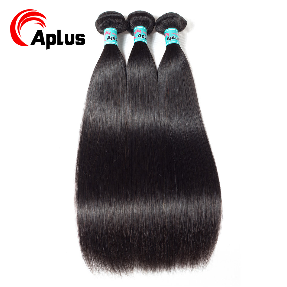 Aplus 100% Human Hair Peruvian 3 Bundles Straight Hair Weave Bundles Natural Color Hair Extensions Non Remy Hair Extensions