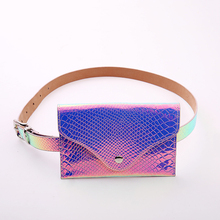 10PCS/ LOT New Fanny Pack Women Belt Bag Pu Leather Waist Laser Bum Womens Packs
