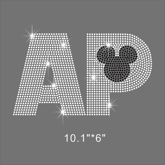 25 Pieces Lot Hot-Fix Big AP Rhinestone Motif Bling Bling For DIY Shirt.  Price  2ada79ddf2b1