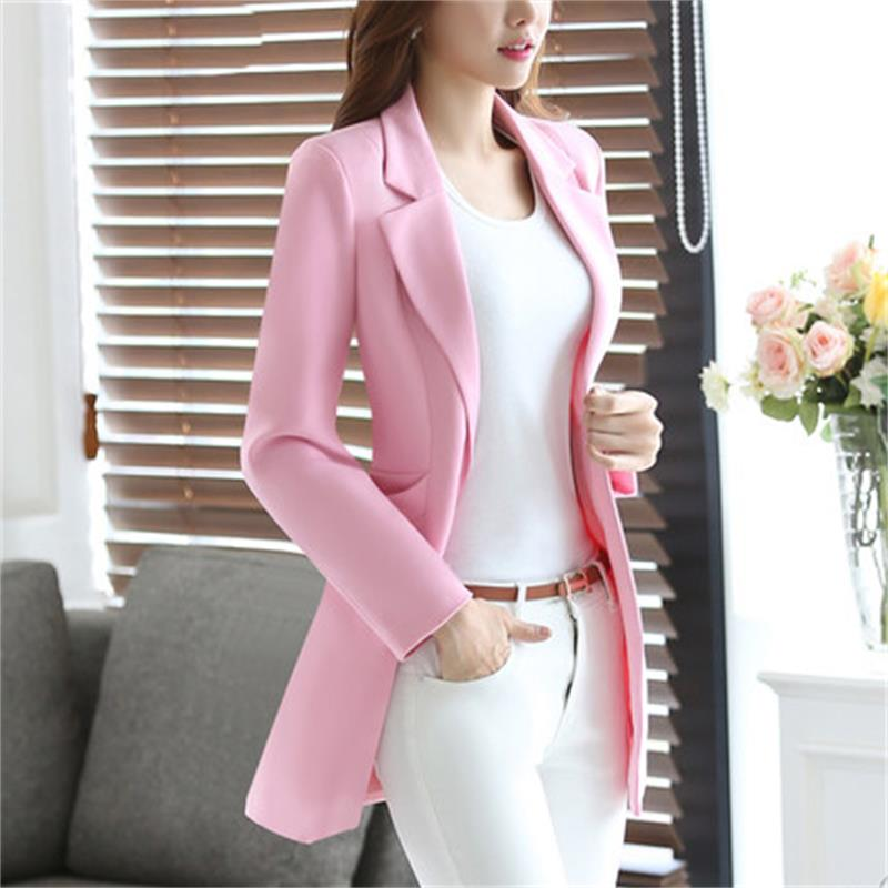 Long Suit Jacket Female Spring And Autumn New Slim Fashion Casual Wild Long Sleeve Small Suit Tide Big Code S-4XL