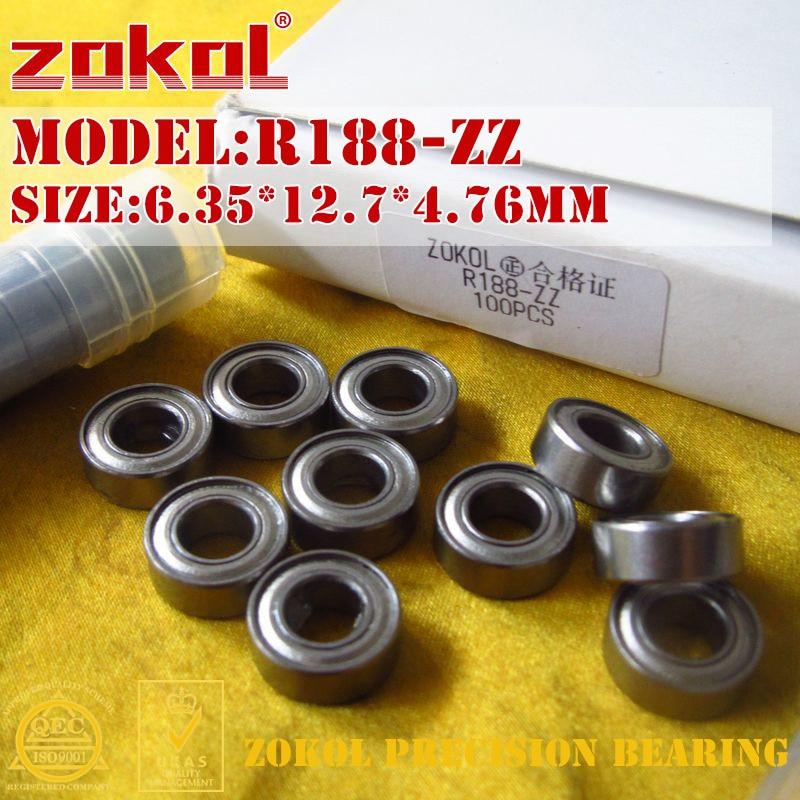 10 PCS R188 ZZ 6.35x12.7x4.76mm Double Metal Shielded Ball Bearings R188z