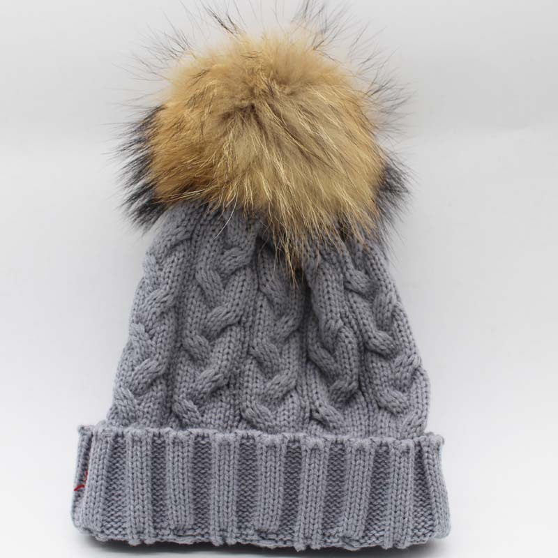 Зимняя женская шапка Skullies Beanies, шапка из натурального меха енота с меховым помпоном 15 см для женщин и мужчин, шапка Skullies В Стиле Хип-хоп, Русская Шапка - Цвет: Серый