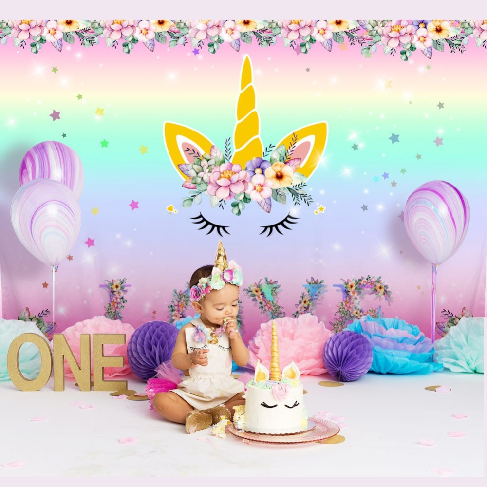 Unicorn Birthday Party Photography Backdrops, Newborn Baby Shower Photo Background Rainbow Flower Love Backdrop Photo Studio 118