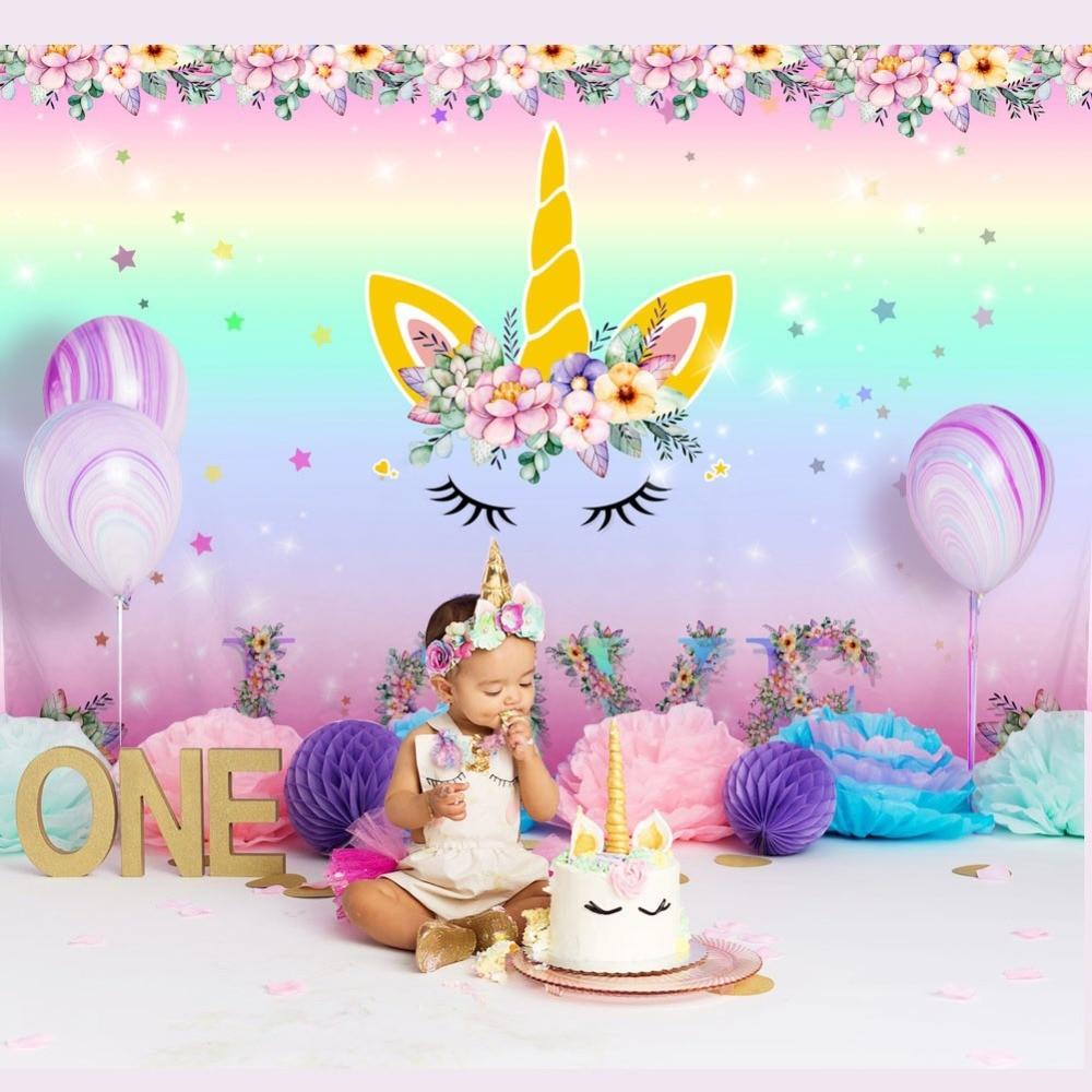 Unicorn Narozeniny Téma Party kulis Vlastní Rainbow Flower Láska - Videokamery a fotoaparáty - Fotografie 1