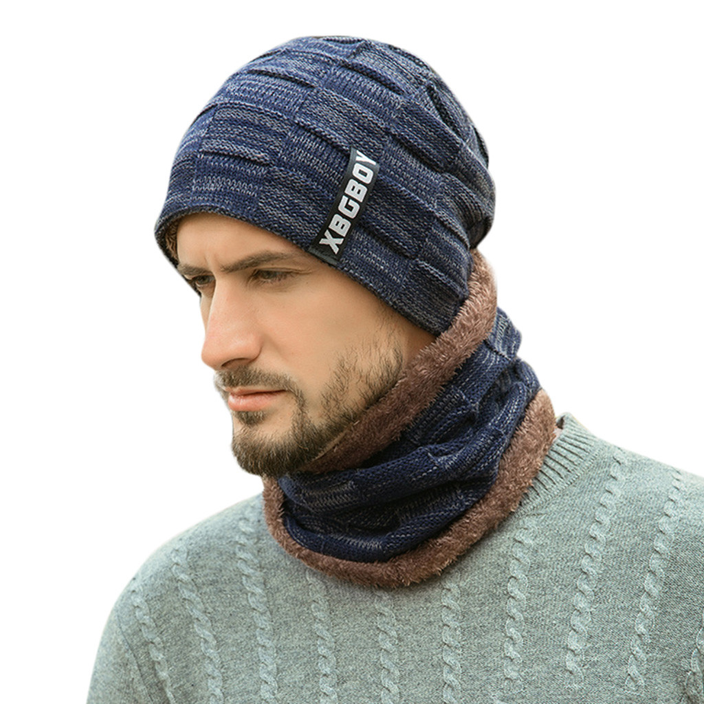 2Pcs Cap And Scraf Male Oversize Warm Hats Scarfs Accessories Causal Unisex Winter Scarf Hat Man Warm Scarf And Hats