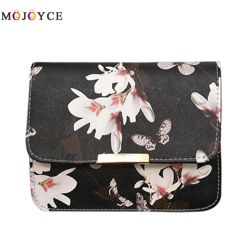 Women Crossbody Messenger Bags Floral Butterfly Printed Flap Mini Handbag Lady Sling Shoulder bag alligator crocodile leather mini women crossbody bags small women bag sling lady messenger shoulder bag purse lady handbag