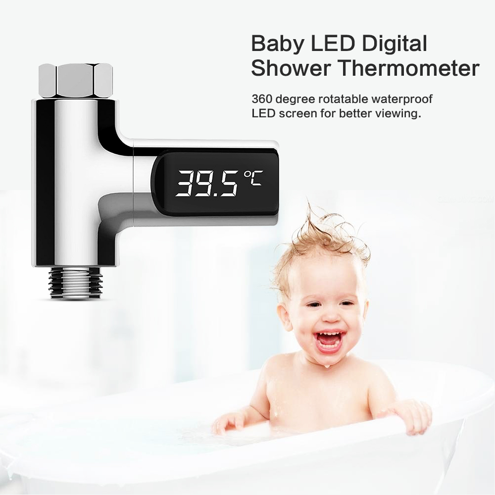 LED Display Water Shower Thermometer Flow Self Generating Electricity Water Temperature Meter Monitor For Home Baby