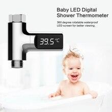 Светодио дный дисплей воды душ термометр поток самогенерирующий электричество температура воды метр мониторы для дома уход за малышом 2018