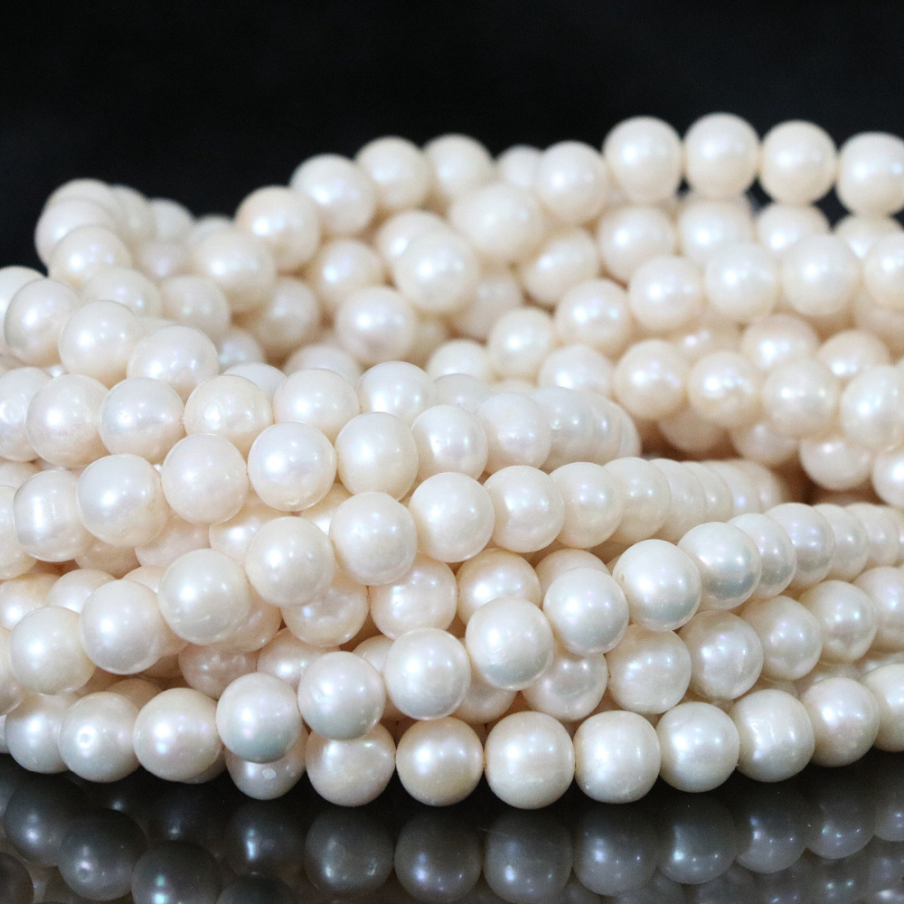 Vintage fashion 8-9mm white natural freshwater pearls women weddings party fit diy beauty gift jewelry making 15inch B1327