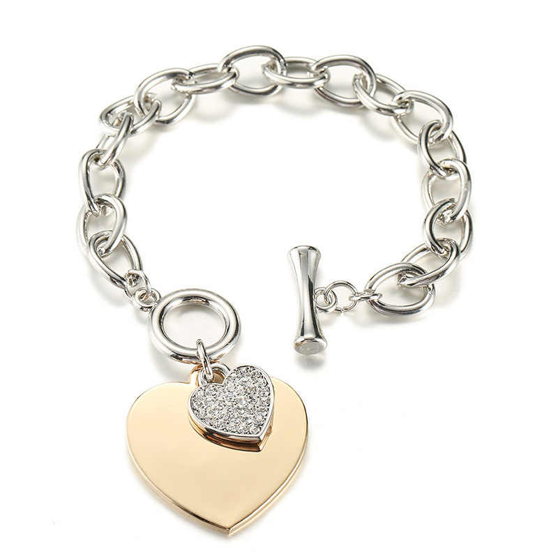 Gold Love Heart Charm Bracelets For Women Accessories Silver Color Link Chain Bileklik Bracelets & Bangles Trendy Jewelry 2020