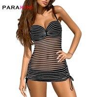 PARAKINI Sexy Perspective Mesh Bikinis Set Skirt 2018 New Striped Lace Push Up Two Piece Tankini Swimdress Women Beach Wear Suit