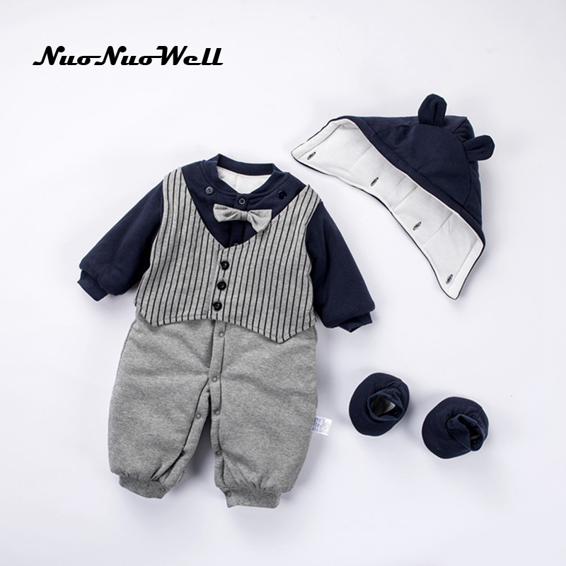 NNW Winter Thick Baby Jumpsuit+Hat+Shoes Cute Hooded Baby Rompers Boys Clothes Outfits Newborn Clothing Baby Boys Infant Outwear