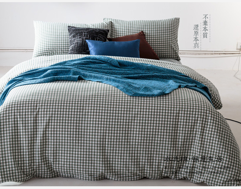 cotton bedding set green plaid flitted bed sheet duvet cover bed linens set twin full queen