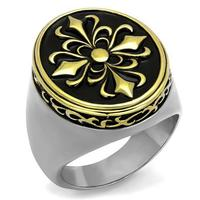 Male Ring High Polishing Stainless Steel Rings 2 Tone Plated Flower Design Fashion Jewelry Full Size