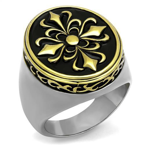 Male Ring High Polishing stainless steel Rings 2 tone plated flower design fashion jewelry full size #8, #9, #10, #11, #12, #13