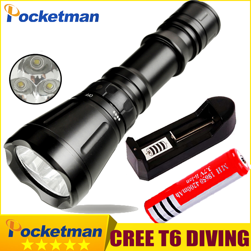 8000 Lumens Diving Flashlight 3* CREE XM-L T6 8-mode 60M LED Flash Light Waterproof Scuba Dive Torch Underwater Hunting diving 4000 lumens cree xm l2 led 3 l2 led t6 flashlight torch waterproof underwear lamp light super white light