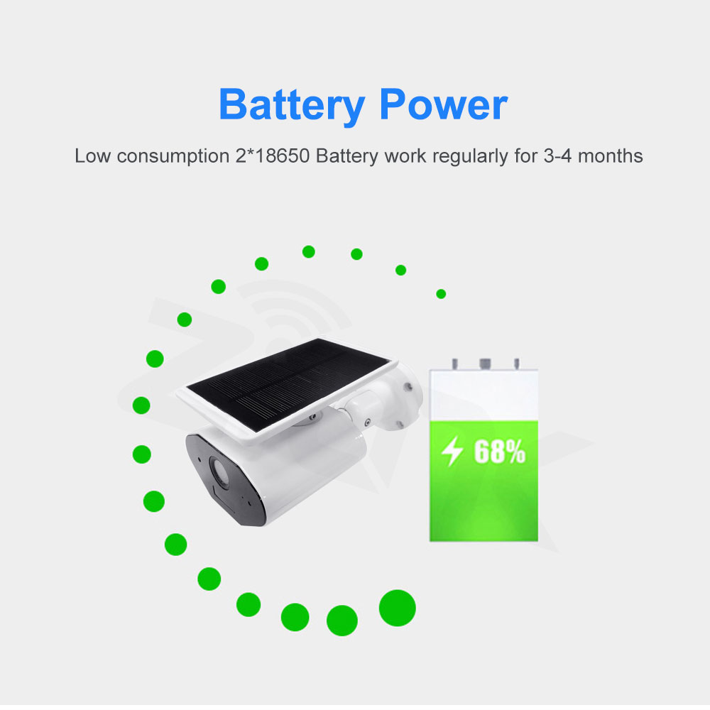 Image 2 - Outdoor Security IP Camera WIFI Wireless 1080P HD Solar Battery Power Surveillance CCTV Bullet PIR Alarm Audio Record TF Card-in Surveillance Cameras from Security & Protection