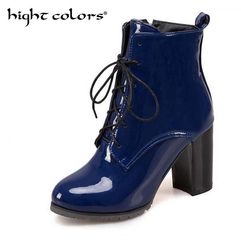 SIZE 34-48 New 2019 Spring/Autumn Women Casual Ladies Shoes Martin Boots Pointed Toe Ankle Boots High Heeled Lace-Up Shoe