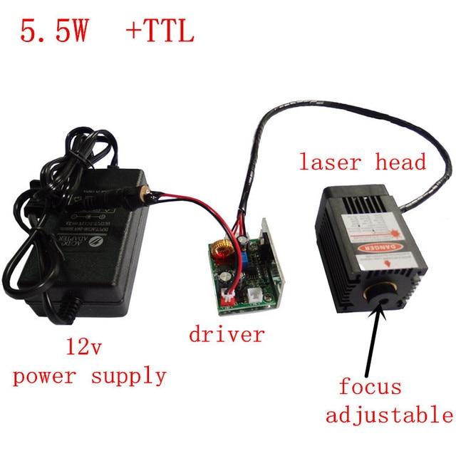 5500mw laser engraving machine module, big power laser head,5.5w laser module,450nm 12V blue purple light laser moule