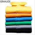 Einaudi 2017 estilos de verão de alta qualidade tamanho grande 6xl camisa marca polo dos homens do algodão de manga curta clássico sólidos magro tops