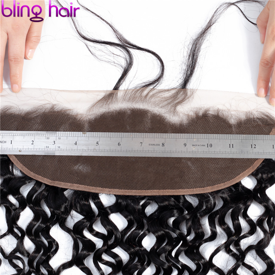 Image 4 - Bling Hair Water Wave 13x6 Lace Frontal Closure Pre plucked Brazilian Remy 100% Human Hair Closure With Baby Hair Natural Color-in Closures from Hair Extensions & Wigs