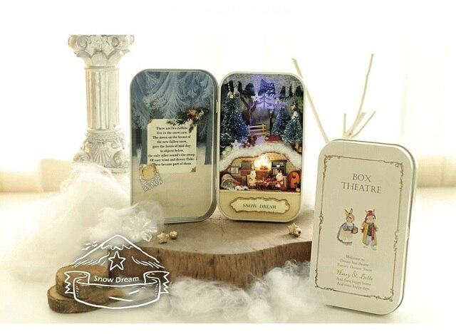 Кукольный Дом Diy миниатюрный 3D Деревянные Головоломки Кукольный Домик miniaturas Мебель Для Дома Куклы Для Подарок На День Рождения Игрушки-Снег Мечта