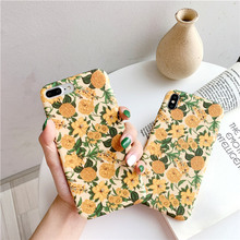 Liquid feel vintage yellow flower phone case for iphone 8 7 6 6s plus floral soft beautiful women fundas x xr xs max