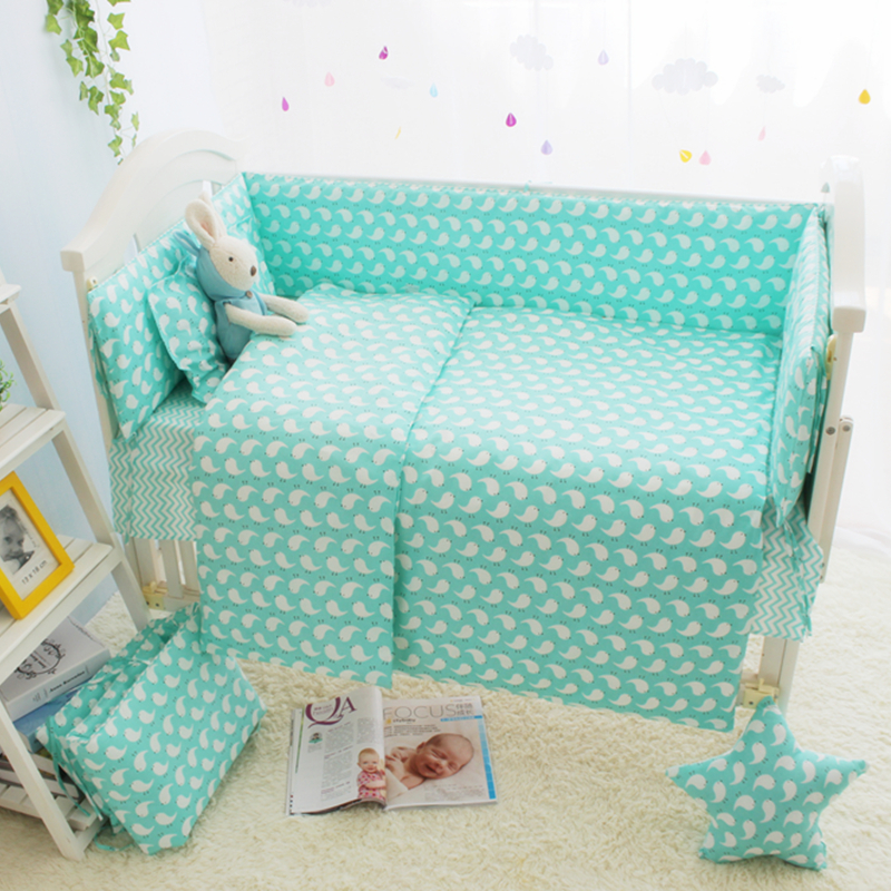 ФОТО Cheap 7 Size Green Baby Girl Cot Crib Bedding Sets, Cartoon Baby Crib Set, Cot Bumpers Sheet Quilt Mattress Pillow Baby Bed Set