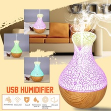 Air Humidifier Wood Mini Ultrasonic Diffuser Air Purifier Essential Oil Aroma Diffuser LED Light Night Air Freshener for Home