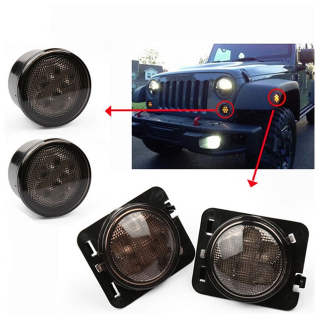 Smoke Lens Yellow Led Front Replacement Turn Signal Light Fender Side Marker Embly For