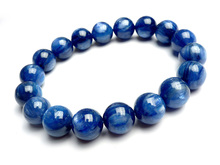 11mm Natural Blue Cat Eye Kyanite Gems Stone Crystal Round Bead Bracelets For Women Stretch Charm Bracelet Femme