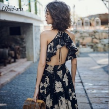 Ubei New Beach dress chiffon ruffle back hollow out summer floral print vintage halter sexy women