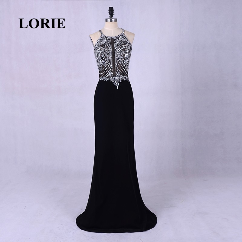 LORIE Open Back Black Evening Dress Elegant Sexy Long Halter Beading Mermaid Prom Dress with Stones