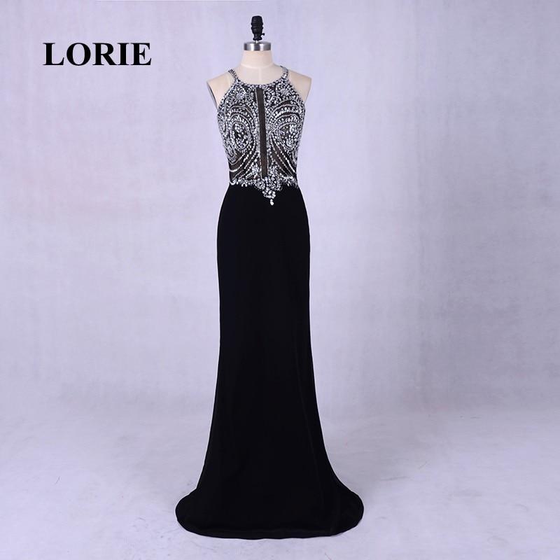 LORIE Open Back Black Evening Dress Elegant Sexy Long Halter Beading Mermaid Prom Dress with Stones