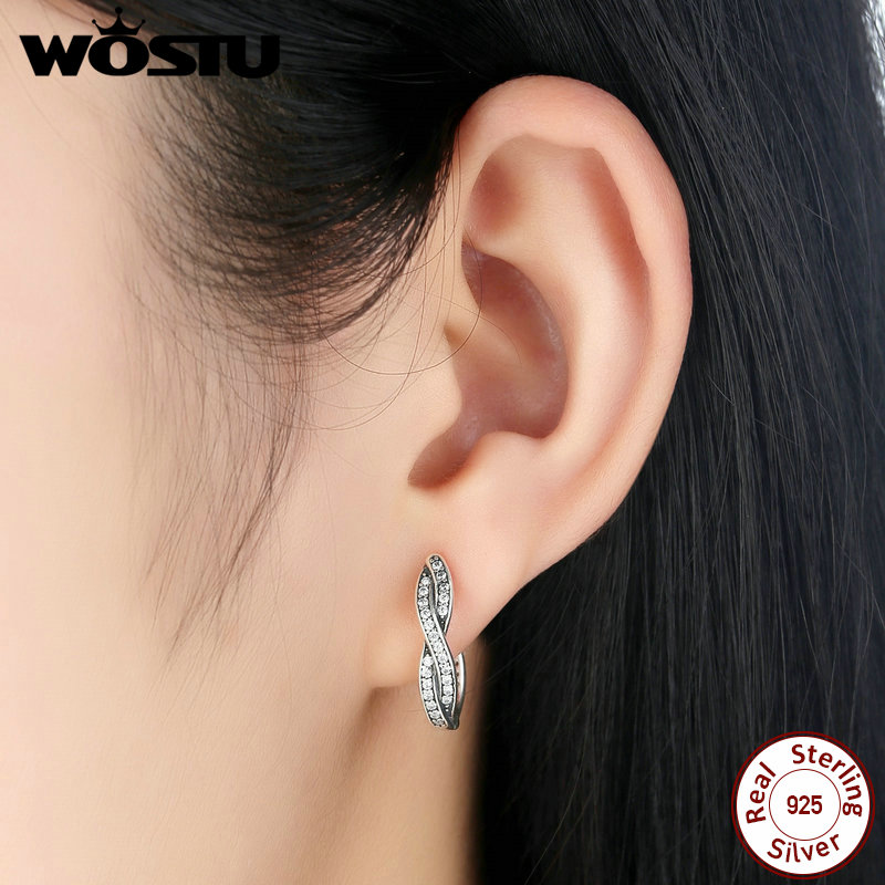 c34394eb1 WOSTU 100% Real 925 Sterling Silver Twist Of Fate Hoop Earrings With Clear  CZ For Women Lady Authentic Original Jewelry Gift-in Hoop Earrings from  Jewelry ...