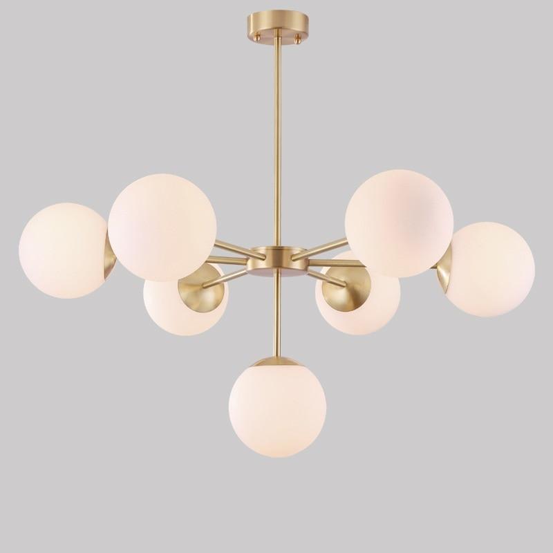 LukLoy латунь простой современный подвесной подвесные светильники Стекло молекулярная потолочные светильники Спальня Гостиная светильники