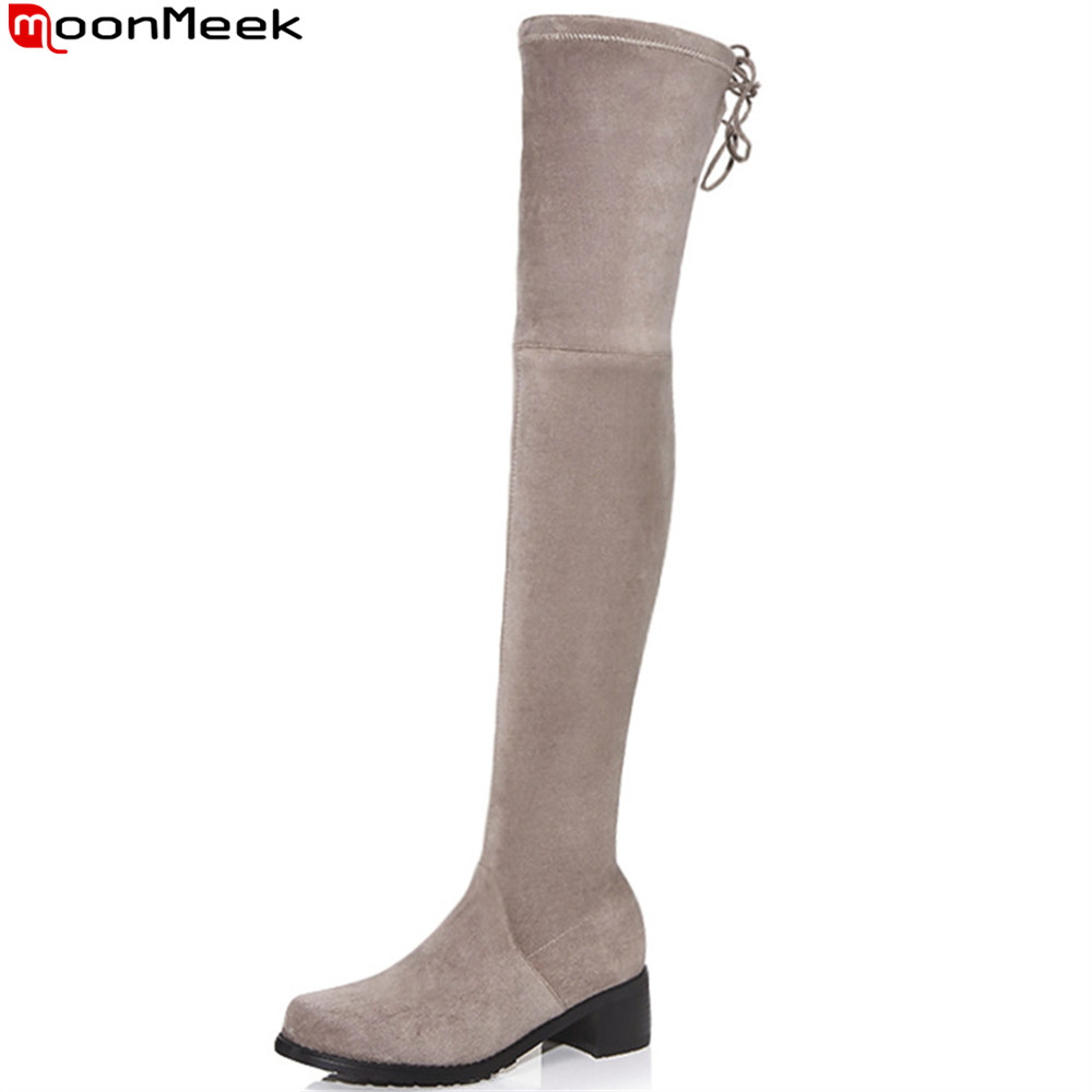 MoonMeek fashion autumn new arrive women boots black gray round toe ladies boots square heel flock sexy over the knee boots 2016 new arrival 15cm ladies motorcycle autumn and winter boots round toe 6 inch high heel boots sexy flock buckle boots