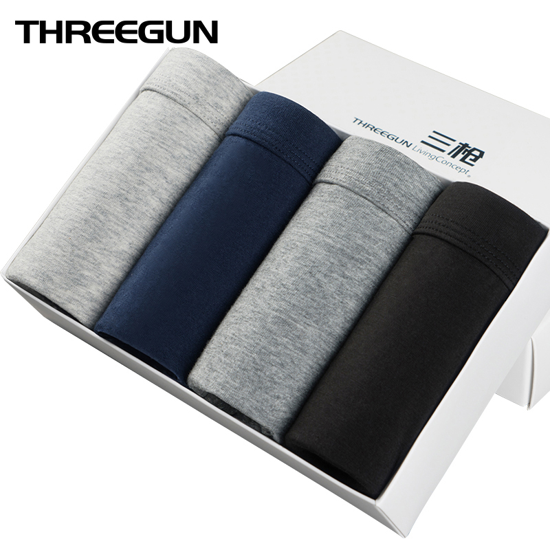 THREEGUN 3/4pcs Lot Men Underwear Solid Underpant Breathable Boxer Plus Size Boxer Shorts Mid Rise Cotton Panties Cuecas 5XL