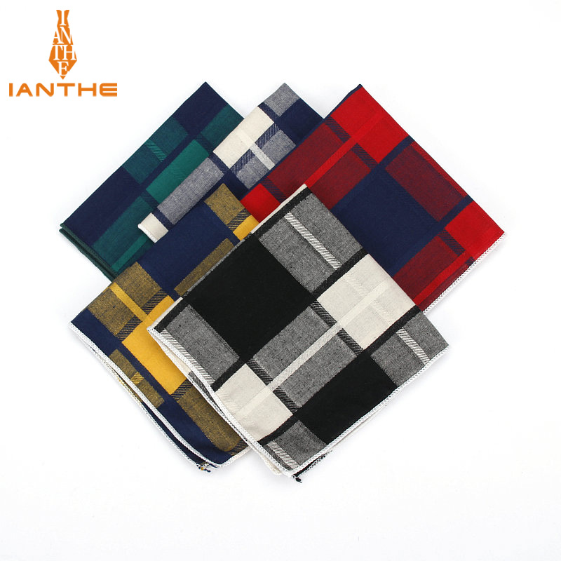 High Quality Men's Hankerchief Scarves Plaid Business Suit Hankies 100% Cotton Casual Men Vintage Pocket Square Handkerchiefs