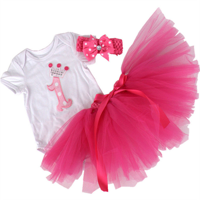 Summer New Newborn Baby girl clothes 0-12 Months Princess crown Romper Jumpsuit+Rose Skirt+headband Baby clothing 3pcs/sets