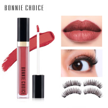 BONNIE CHOICE False eyelashes Magnet Eye Lash with Lip Gloss Matte Liquid Lipstick Long Lasting Waterproof Lip Makeup Set