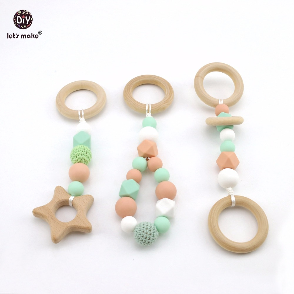 Let s Make Baby Play Gym Accessorie 3pc Chew Silicone Beads DIY Teether Jewelry Nursing Pendants