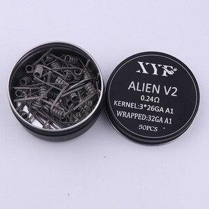 Image 2 - XYF 50 шт., катушка clapton Alien v2, нагревательная проволока для RDA RBA, ремонтная катушка атомайзера, катушка для электронной сигареты, катушка испарителя