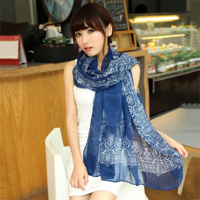 Scarves For Women Fashion 2018 Spring Floral Long Yarn Scarf Blue White Cashew Flower Print Shawl Cotton Scarf Hijab