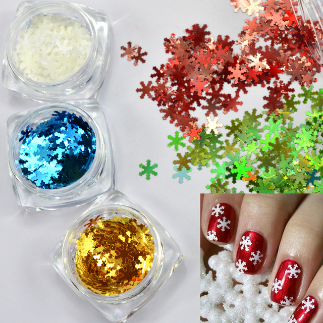 1 Box Shining Snow Flower 3d Holo Flakies Glitter Nail Sequins Tips