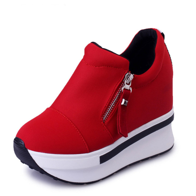 Free Shipping New Arrival Women Casual Shoes  Zipper Bottom Thicken Height  Increasing Fashion PU leather Shoes  45TXJ