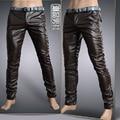 6 Colores de Cuero Pantalones de Los Hombres 2016 Mens Pantalones de Cuero de Moda de Alta Calidad de La Motocicleta Flaco Mens Pantalones de Cuero de Imitación
