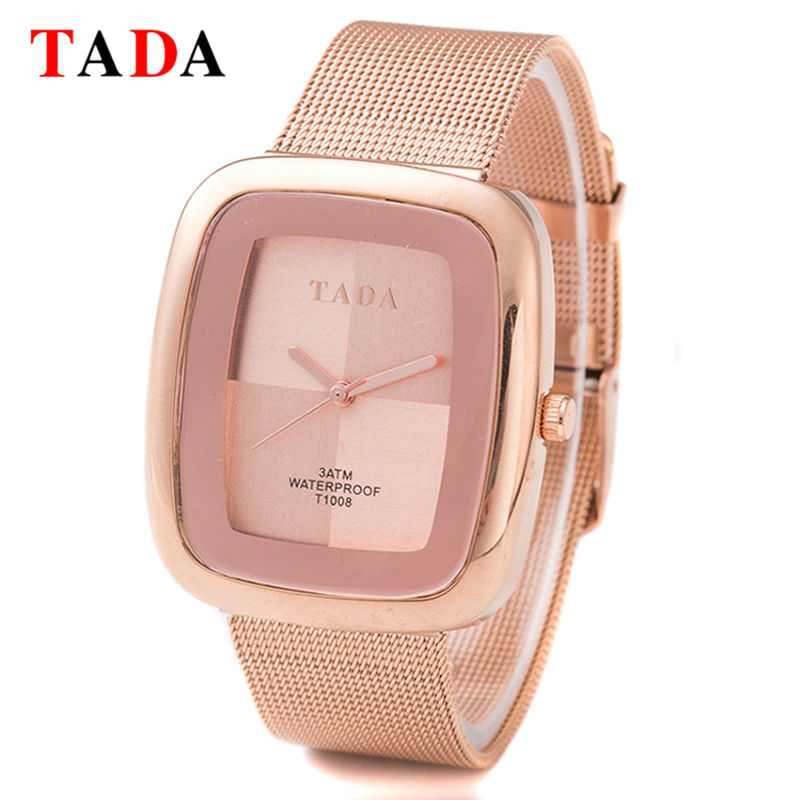3ATM Waterproof TADA New rectangle girl gold Lady Watches Women Mesh steel rose gold Wristwatches Relojes Mujer Relogio Feminino