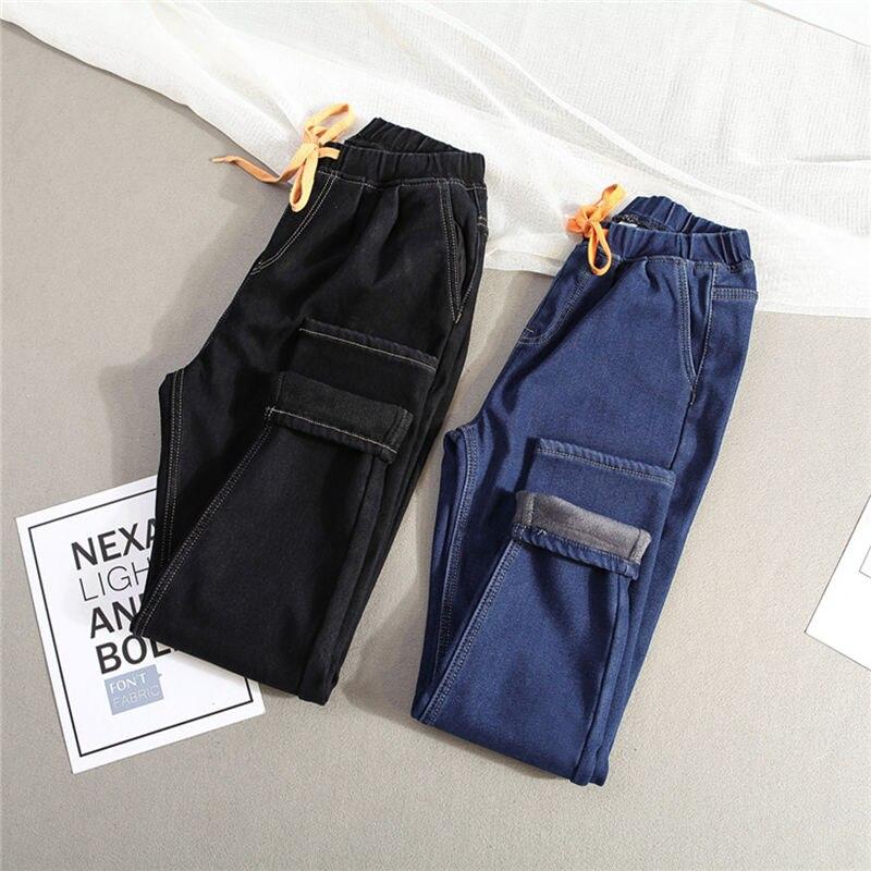 Plus Size 5XL Winter Plus Velvet Warm Jeans Woman Drawstring High Waist Jeans Denim Long Pants Vintage Women Harem Jeans C3866
